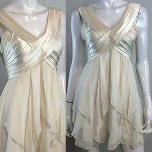 BCBG Maxazria Silk Ruffled Mini Flutter Dress